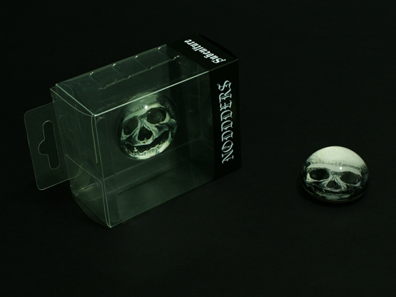 Weird skull headphones glass dome