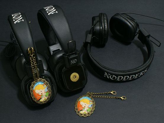 cute vintage cartoon headphones with girl