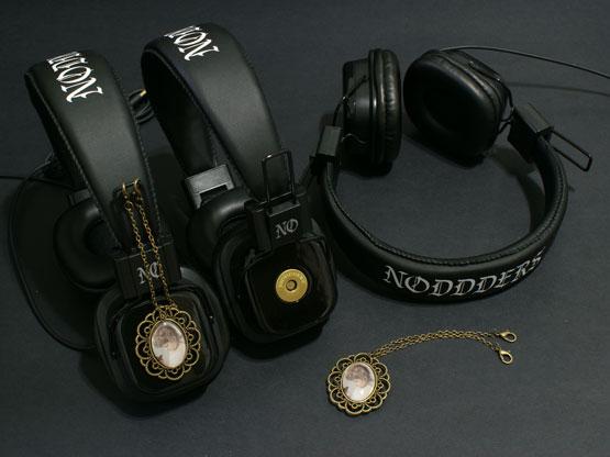 Vintage girl headphones with pendants