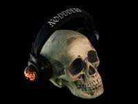 Skull with cartoon boy covering ears crystal